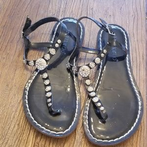 Italian leather sandals with crystals.